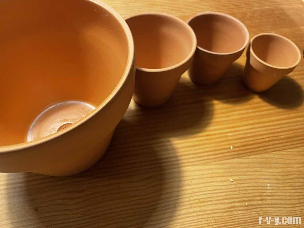素焼き鉢のラインナップ